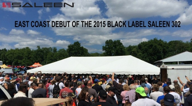 The crowd looked on as Black Label Saleen 302 was unloaded.