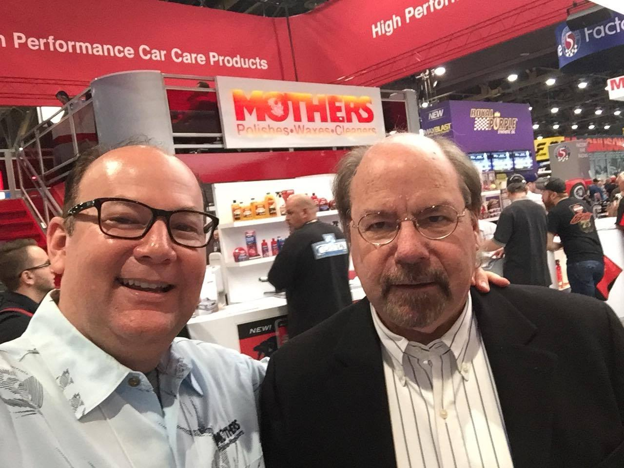 Jim Dvorak & Steve Saleen at the Mothers Polish booth - SEMA 2016
