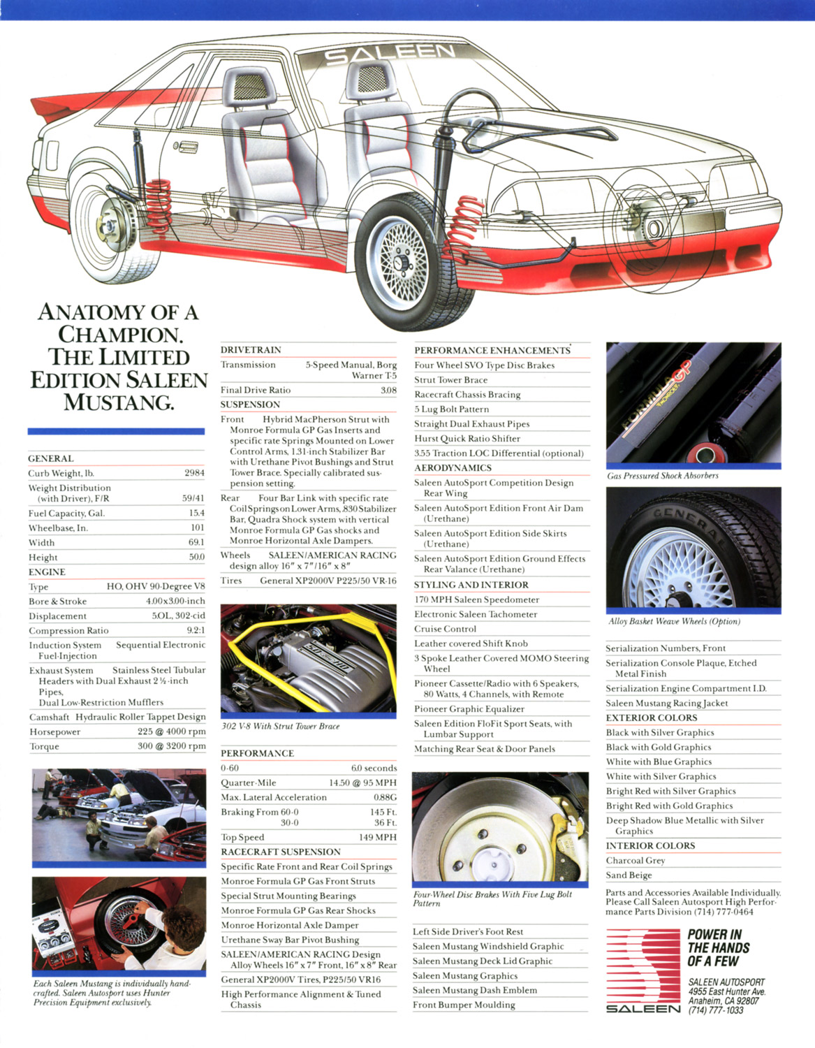 1989 Saleen Mustang Specifications