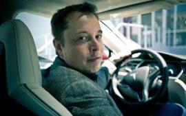 Elon Musk in 2012 Tesla Model S