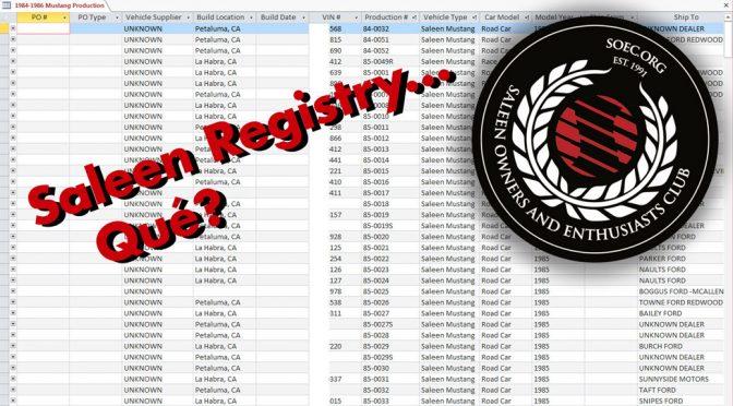 Saleen Registry