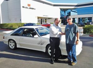 Kevin has taken the one-off Mustang to Saleen's facility in Southern California for car shows on several occasions. There he met Steve Saleen himself, who signed the car's dash.
