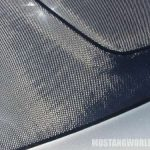 But under close inspection we noticed it was carbon fiber ! In a special section of the hood line.
