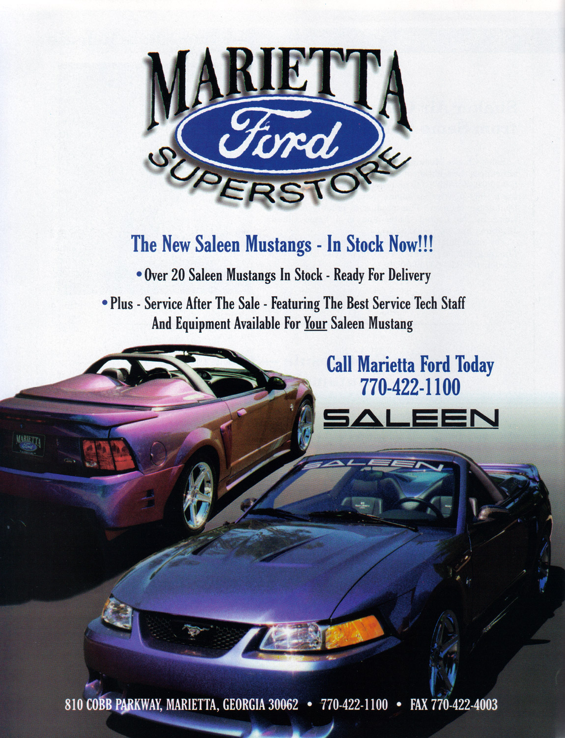 99-0012S S351 Speedster, Marietta Ford advertisement