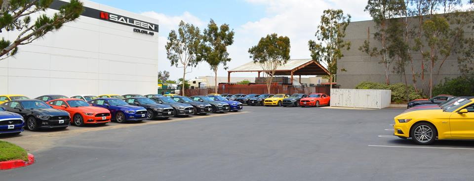 A pool of 2015 Mustang GTs await conversion - Saleen Auto, Corona, CA