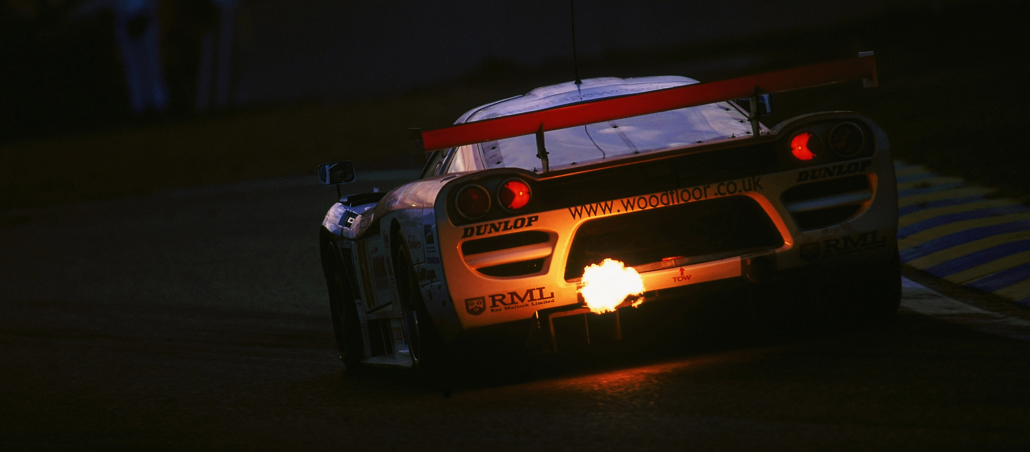 Pictured: A Saleen S7R racer campaigned by RML at the 24 Hours of Le Mans in 2001. Note the RML sticker illuminated by the car's flames.