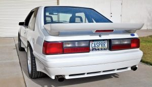"The vanity plate is a reference to the car's nickname, ""Casper"" (i.e., the friendly ghost), bestowed by Tim Allen and the Saleen crew during the build, thanks to its all-white color scheme."