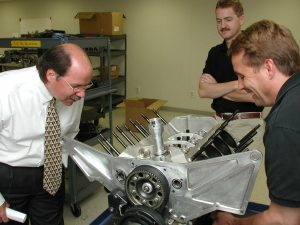 Steve Saleen was present at every step of the S7's development. Here he and Billy Tally discuss the S7 engine with Neil Hannemann looking on.